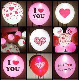 """Wholesale 12 Inch Heart Balloon - 12"""" High Quality I LOVE YOU Led Ballons Valentines Flash Balloons Heart Glowing Latex Ballons Wedding Love Balloon Marriage Party Balloons"""
