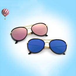 Wholesale Kids Round Eyeglasses - 2017 New Retro style cool Round Kids Sunglasses Boys Girls Sun Glasses Children Eyeglasses Brand Design Mirror Shades UV400 Wholesale