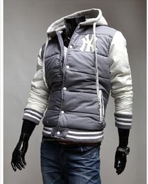 Wholesale Parka Style Jacket Men - Wholesale free shipping New Fashion Men's Leisure Hooded Spell Color Baseball Style Coat Winter Active Casual Parka Cotton Jacket