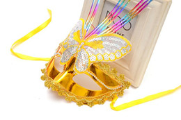 Wholesale led feather masks - Dance parties performances LED with light-emitting luminous lace mask butterfly mask