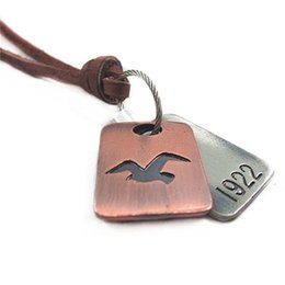 """Wholesale Engraved Copper - Seagulls Tag Pendant Necklace With Tag Engraved 1922 Pendant Free 35"""" Genuine Leather Chain Two-Tone Punk Statement Necklace"""