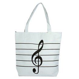 Wholesale Bag Musical Note - Wholesale-New 2016 Women Girls Canvas Musical Shopping Shoulder Bag Notes Totes Handbag Large High Quality Free Shipping
