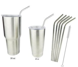 Wholesale For Yeti Mugs Stainless Steel Bend Drinking Straw With Cleaning Brush for RTIC Yeti oz oz Rambler Tumbler Cups with retail package