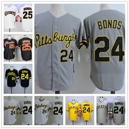Wholesale Vintage Polyester Shorts - Mens Barry Bonds Vintage Jersey 1986 Pittsburgh Pirates #24 road throwback SF Giants 25 cooperstown black gray pinstripe white gold pullover