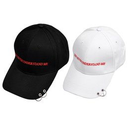 Wholesale White Safety Pins - 2017 Safety Pin Hiphop Men Cotton Cap Autumn Ring Black Baseball Cap Sport Outside Curved Hats White Black 2 Color
