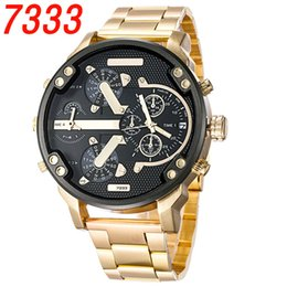 Wholesale Full Dates - Dual Clocks Working Mens Watches Sport Big Dial Top Brand Quartz Gold Luxury Watch Full Stainless Steel band Auto Date Wristwatches For Men