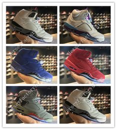 Wholesale Hot Cork - Hot High Quality Retro 5 V Raging Bull Red Suede Tongue Reflect mens Basketball Shoes Retros 5s Hornets White Cement 3M Camo Sneakers Shoes