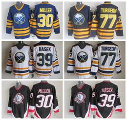 pierre bianco Sconti Uomo Buffalo Sabres 77 Pierre Turgeon Jersey 30 Ryan Miller 39 Dominic Hasek Blu Nero Bianco Hockey su ghiaccio Cucito Migliore qualità