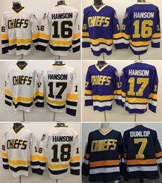 Wholesale Dunlop Green - 2017 Cheap Hockey Jerseys Charlestown CHIEFS 7 Reggie Dunlop 16 Jack Hanson 17 Steve Hanson 18 Jeff Hanson Stitched Jersey