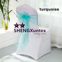 Wholesale Turquoise Chairs Sashes - Factory Price White Spandex Chair Cover With Turquoise Color Organza Chair Sash