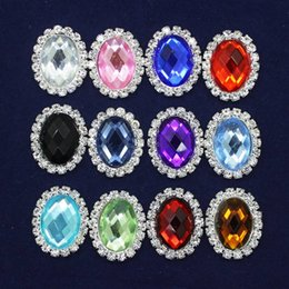 Wholesale 25mm Beads Silver - 20*25mm Oval Crystal Flower Buckle Multicolor Rhinestone Faceplate Beads Jewelry Findings For DIY Hair Jewelry Making