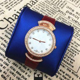 Wholesale Genuine Crystal Bracelets - Popular lady watches women Wristwatches Famous brand Genuine Leather Bracelet female Quartz Free shipping Small Eyes Crystal Luminous hands