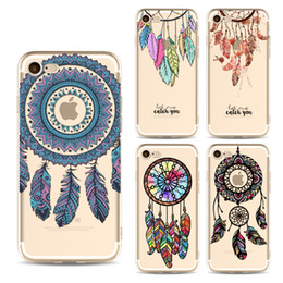 Wholesale phone covers accessories - for iPhone7 iPhone 5s 6 6s 7 Plus Cases Clear Cellphone Cartoon Feather Covers Transparent Fashion Cell Phone Accessories