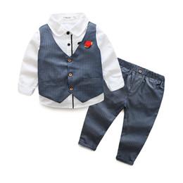 Wholesale Piece Down Vest - Boys clothes gentlemen's wear kids suits children boys shirt+vest+pants 3pcs Clothing Set 5 colors 5 s l