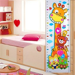 Wholesale Giraffe Animal Stickers - High Quality 1PC Kids Children Baby Growth Height Chart Wall Sticker Cartoon Giraffe Animal Height Sticker Home Decor