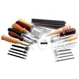 Wholesale Art Work Wholesalers - Wholesale- 1Set Stitching Carving Working Sewing Saddle Groover Punch Leather Craft Tools