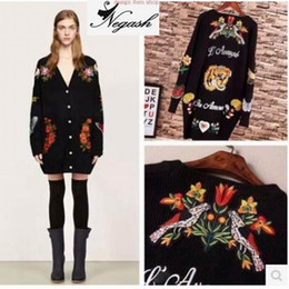 Wholesale Girls Animal Print Coats - Wholesale-Europe brand Embroidery Long Loose Tiger Cartoon Knitwear Cardigans Women Girl Sweater Cardigan Coat Pull Femme Oversized