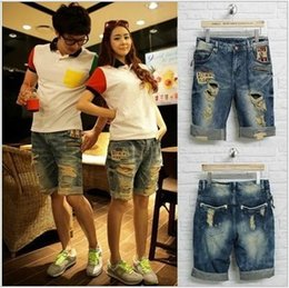 Wholesale Beach Shorts For Couples - Wholesale- New arrival Summer Style Ripped denim shorts for Couple Board shorts Casual hole Jeans loose bermuda shorts beach short 030101