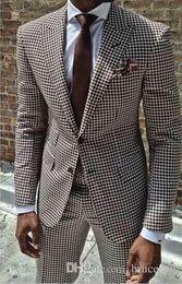 2018 New Coat Pant Design Houndstooth Mens Smoking Groom's Wear Tuxedo Abiti da sposa Per uomo Blazer Masculino Plus Size (suit + pant) da