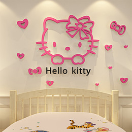 Wholesale Chalkboard Stickers Large - Hello Kitty Walls Stickers 3D Wall Stickers Online Mirror Design Glass Removable Small Wall Stickers For Kids Room
