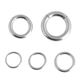 Wholesale Tongue Piercing Stud Ring - 1 PC Silver Nose Hoop Ear Tongue Rings For Women 12 13 15 18 22mm Stainless Steel Segment Rings Labret Lip Piercing Jewelry