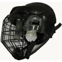 Wholesale Masks Art - Fashion Hockey Goalie Helmet Polyester Fibre Approved Ice Hockey Helmet Impact-Resistant With Adjustor Mask Chin Guard Black White S M L
