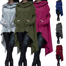 Wholesale Long Hooded Women S Sweater - S-5XL Women Plus Size Oversized Fashion Loose Hoodie Dress Long Jumper Hooded Tops Casual Sweatshirt Sweater Asymmetric Hoodies