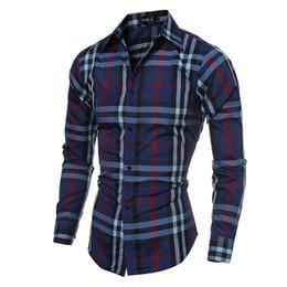 Wholesale Blue Plaid Shirts - 2017 New Leisure Men Dress Shirts Long Sleeve Turn-down Big Plaid Dress Shirts Men Slim Spring Fall Clothing Fashion Tops Free Shipping