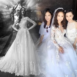 Wholesale Dress Costom Make - 2017 Charming Celebrity Milla Nova Wedding Dresses AppliqueTulle Modest Long Sleeve Costom Long Train Bridal Gowns vintage Country Dress