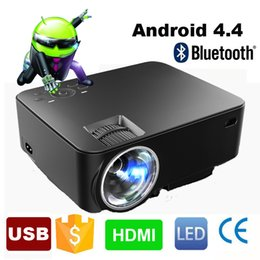 Wholesale Smart Beamer - Wholesale-2016 New Portable Digital Mini android 4.4 Wifi Bluetooth smart LED LCD Projector HD 1080P Home Theater Beamer with USB SD HDMI