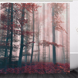 Impression rideau de douche en Ligne-Vente en gros - LiterieOutlet Red Leaves Rideau de douche Woodsy Red Mystic Forest Foggy Country Decor Maple Digital Print Polyester 180x180cm