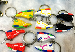 Wholesale Two Ring Pendant - Basketball Shoes Buckle strap two-sided Keychain Halloween Christmas Gifts PVC Car key Chain Pendants Key Rings Pendant Wholesale