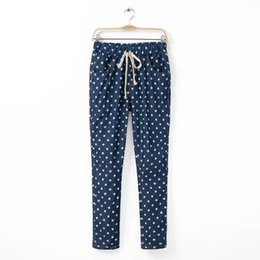 Wholesale Printed Loose Pants For Women - Wholesale- 2015 New Woman's Pants Fashion Five-Pointed Star & Dot Print Drawstring Large Size Full Length Pants Jeans For Woman A808