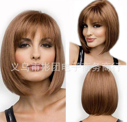 hot short hair cuts Promo Codes - 2015 Hot sale New Stylish Synthetic Wigs Pixie cut wig Short Straight hair Brown wig for women Glamorous Fashion Free shipping