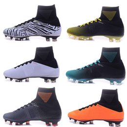Wholesale Soft Leather Kids Shoes - New arrive Mens Football Soccer Shoes Mercurial Superfly V FG AG Soccer Cleats Original Kid High Ankle Football Boots Superflys Soccer Boots