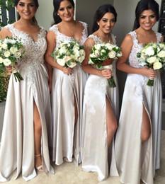 Wholesale Long Bridesmaid Dresses Slit - Top Selling Cheap A line V Neck Lace Bridesmaid Dresses Chiffon Long Side Slits Beach Wedding Party Dress