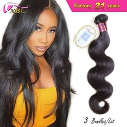 Wholesale Xbl Hair - Wholesale-Unprocessed Virgin Brazilian Hair Body Wave 3pcs Brazilian Hair Weave Bundles XBL Human Hair Body Wave tissage bresilienne