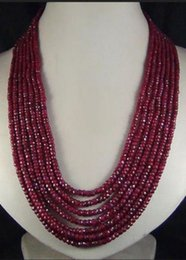 Wholesale Ruby Faceted Necklace - Free Shipping ***AAA NEW 4x6mm NATURAL RUBY FACETED BEADS NECKLACE 100""