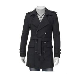 Männer graben 3xl online-Mode neue Männer Casual Schultergurt Double-Treasted Trench Long Coat Revers Slim Fit Trenchcoats einzigartige Herrenbekleidung