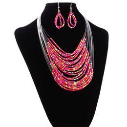 Beaux bijoux ensembles N142 commandes couche de 20 mètres ligne explosion couche collier boucles d'oreilles Set multicolore fabricants directs ? partir de fabricateur