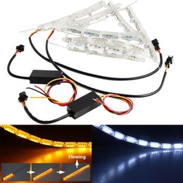 Wholesale Universal Shift Light - 2 Pcs Car Headlight DRL Flashes Flowing Amber Shift Signal Lights Car Styling Decorative Atmosphere Lamps Car Interior Light With Remote
