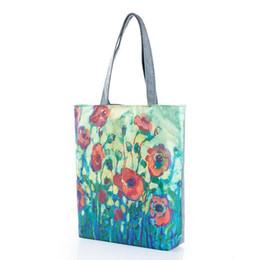 Wholesale Oil Painting Canvas Bag - 2017 new fashion women shoulder bag floral print women handbags oil painting flower ladies shoulder bags cross border tote