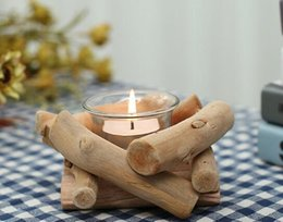 Wholesale Christmas Decorations Desk - Wooden Candlestick Candle Holder Table Desk Nice Wedding Decoration Props Decoration Furniture Romantic Candlelight Dinner