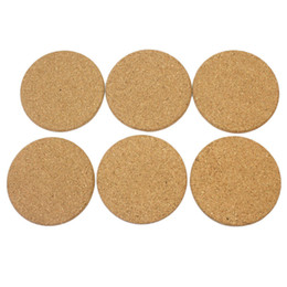 Wholesale wood drink coasters - 10cm*0.5cm Round Shape Plain Cork Coasters Heat Resistant Tea Drink Wine Coffee Cup Mat Pad Table Decor - ideas for wedding party gift
