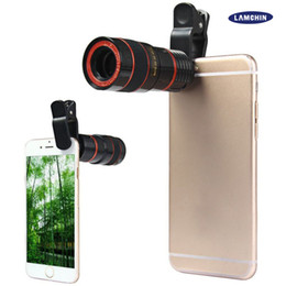 Wholesale cell phone telescope lens - Telescope Lens 8x Zoom Unniversal Optical Camera Telephoto Len with Clip for Iphone Samsung HTC Sony LG Mobile Smart Cell Phone