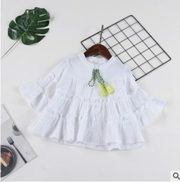 Wholesale Girls Butterfly Shirt Wholesale - Girls cotton linen blouses Kids butterfly sleeve tassel Bows Bandage shirt fashion child pleated lace tops 2017 new girls clothes G0552