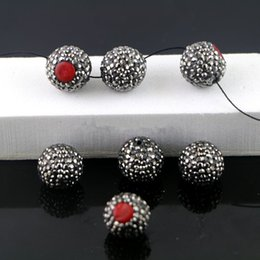 Wholesale Coral Connector Bead - Wholesale 20Pcs Red Coral Druzy Connectors, Pave Rhinestone Loose Spacer Connector Beads Jewelry Making