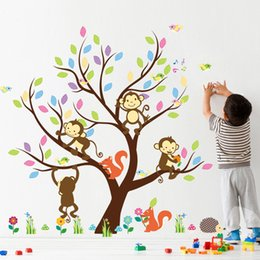 Wholesale Carton Wall Stickers - New Carton Wall Sticker decor wallpaper The Monkey Climbing the Tree Funny Stickers for Children's Room
