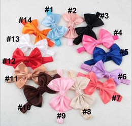 Wholesale Toddler Hair Ties - Baby Girl Small Bow Tie Headband DIY Grosgrain Ribbon Bow Elastic Hair Bands For Infant Toddler Hair Accessories YH552