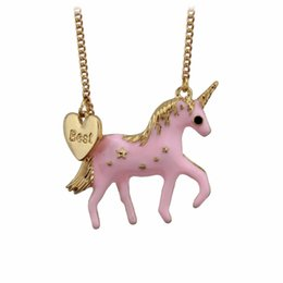 "Wholesale Stainless Steel Horse Jewelry - Wholesale- Trusta New Hot Fashion Jewelry 17"" Necklace Loverly Pink Oil Glaze Horse Pony Unicorn Pendant Girls Gift EE83 Free Drop Shipping"